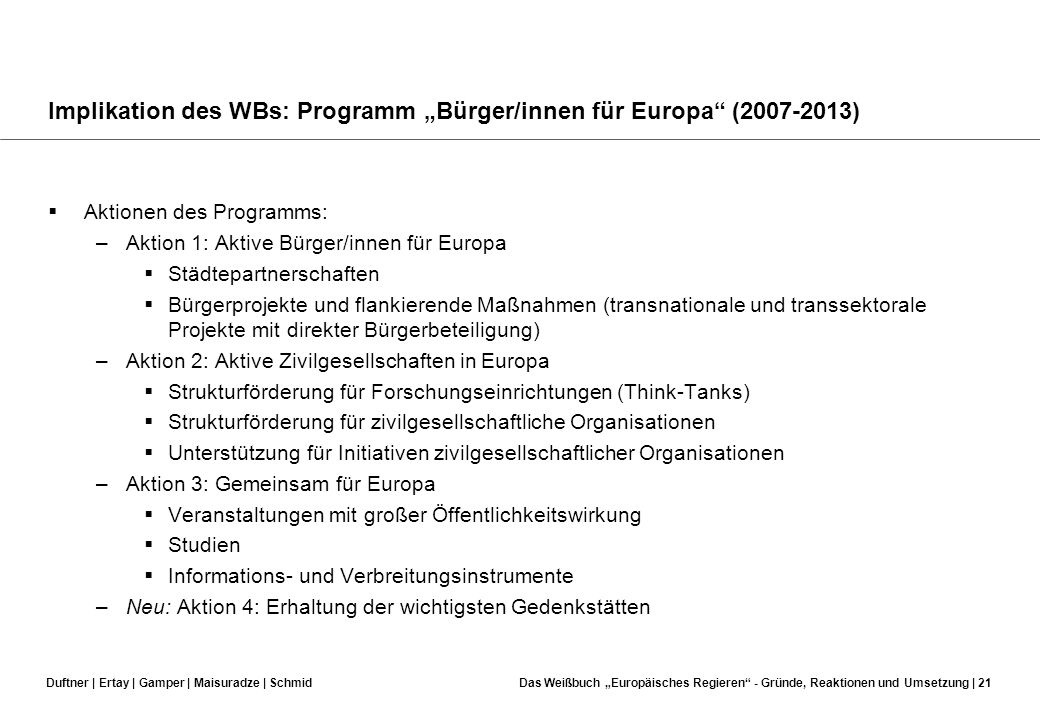 """Implikation des WBs: Programm """"Bürger/innen für Europa (2007-2013)"""