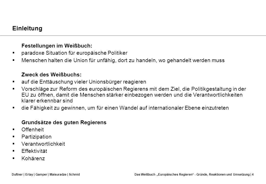 Einleitung Festellungen im Weißbuch:
