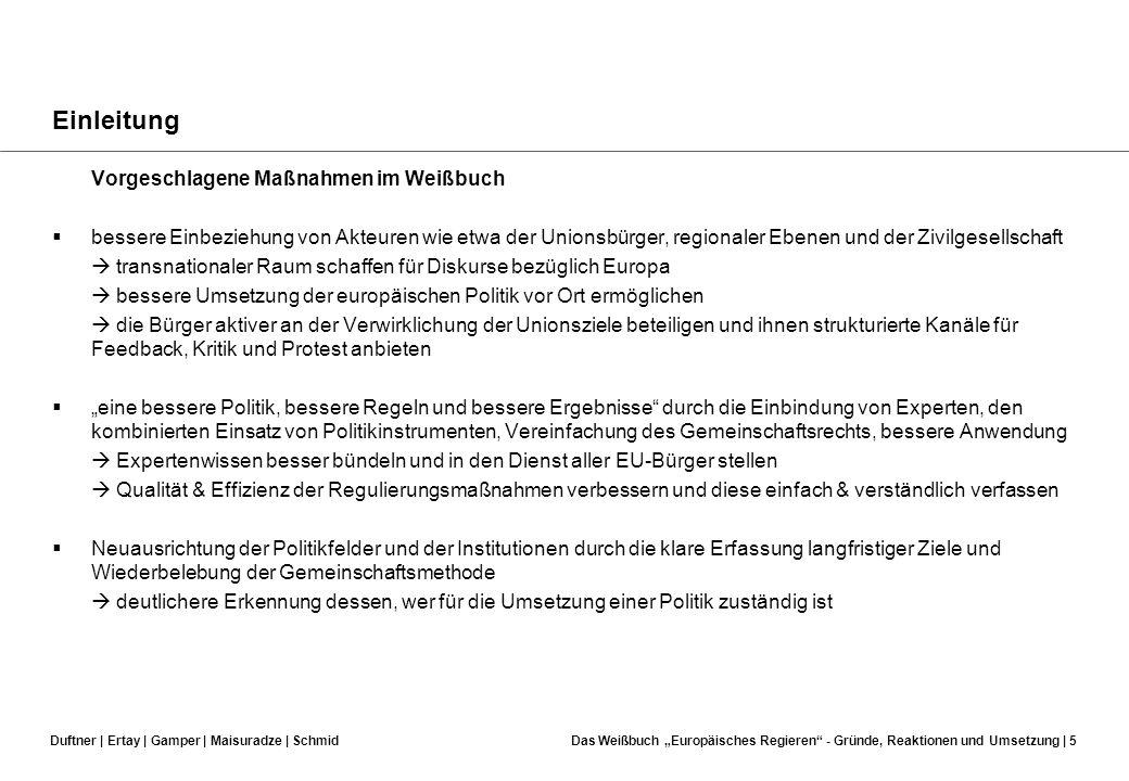 Einleitung Vorgeschlagene Maßnahmen im Weißbuch
