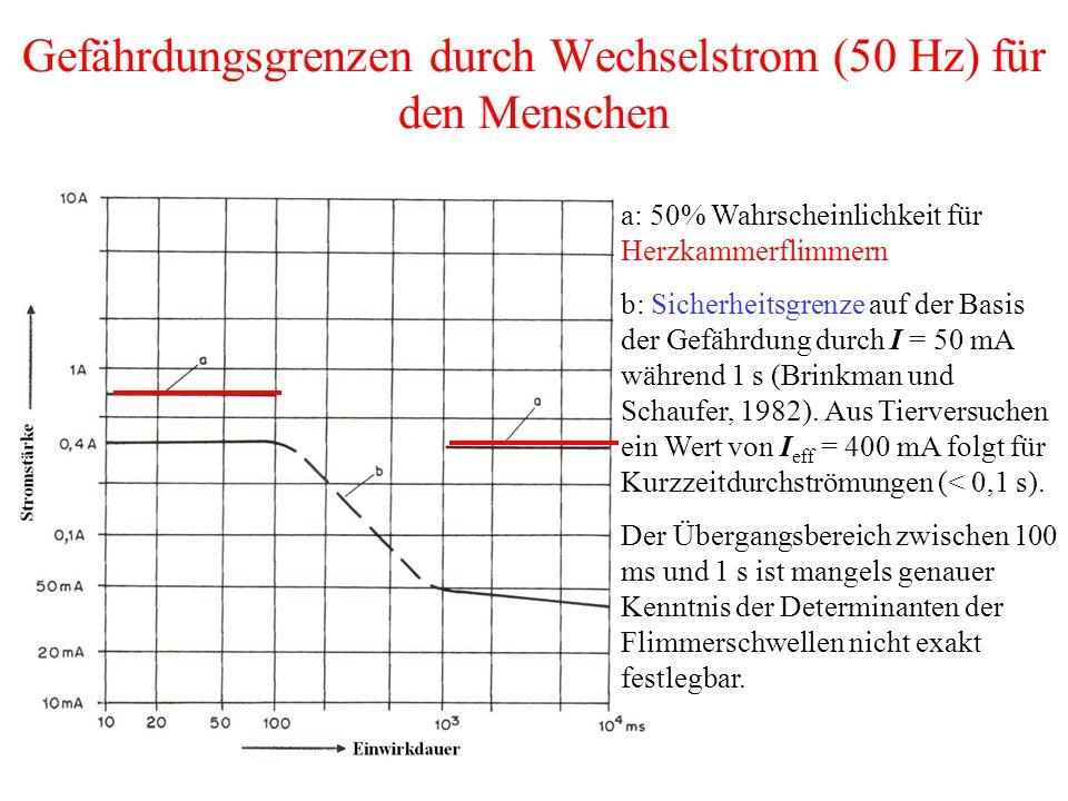 Gefährdungsgrenzen durch Wechselstrom (50 Hz) für den Menschen
