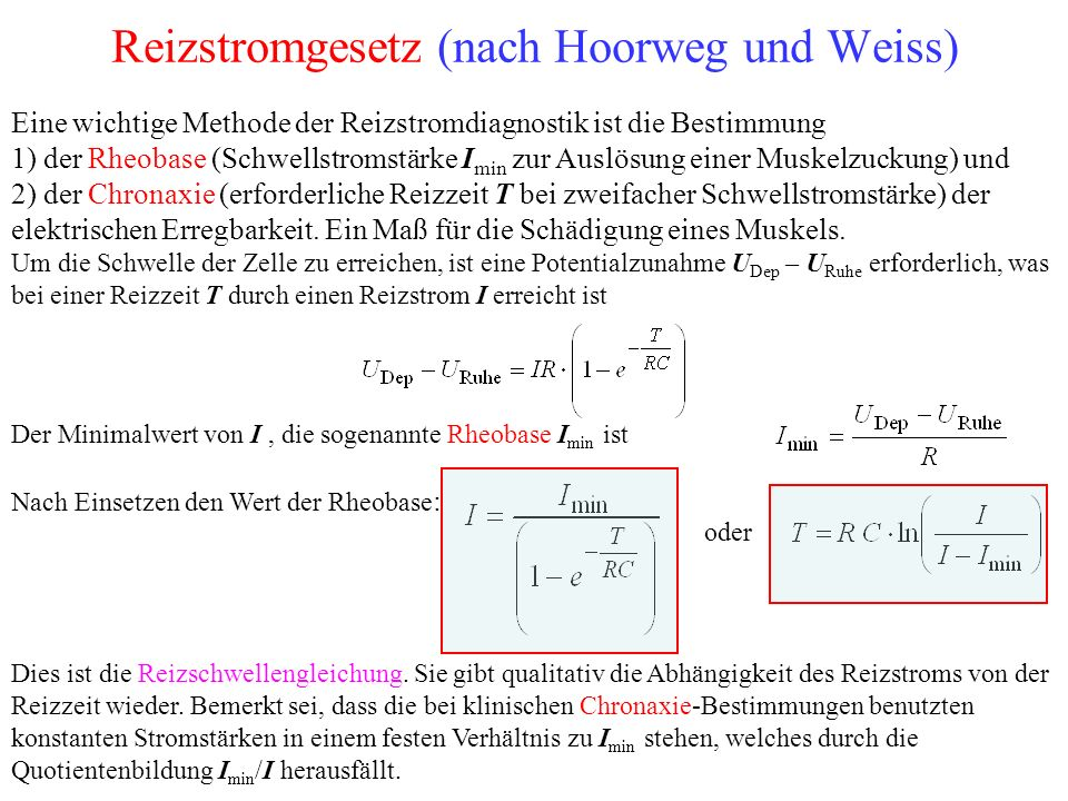 Reizstromgesetz (nach Hoorweg und Weiss)