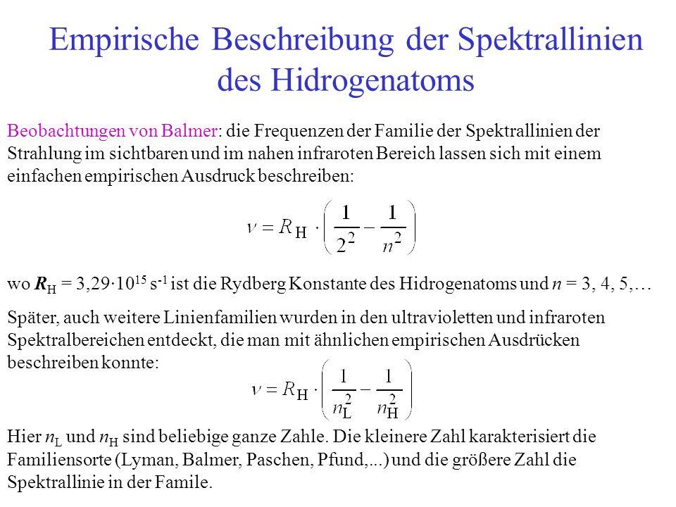 Empirische Beschreibung der Spektrallinien des Hidrogenatoms