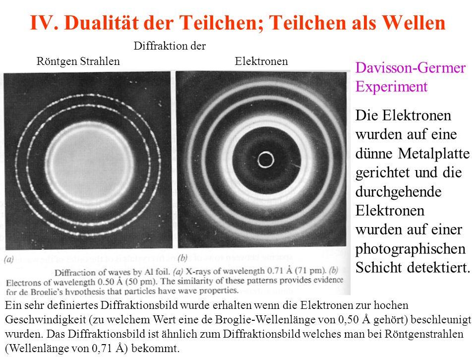 IV. Dualität der Teilchen; Teilchen als Wellen