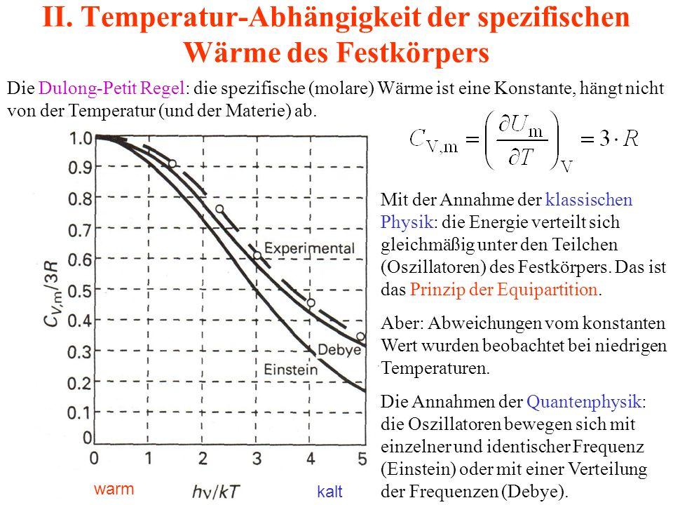 II. Temperatur-Abhängigkeit der spezifischen Wärme des Festkörpers