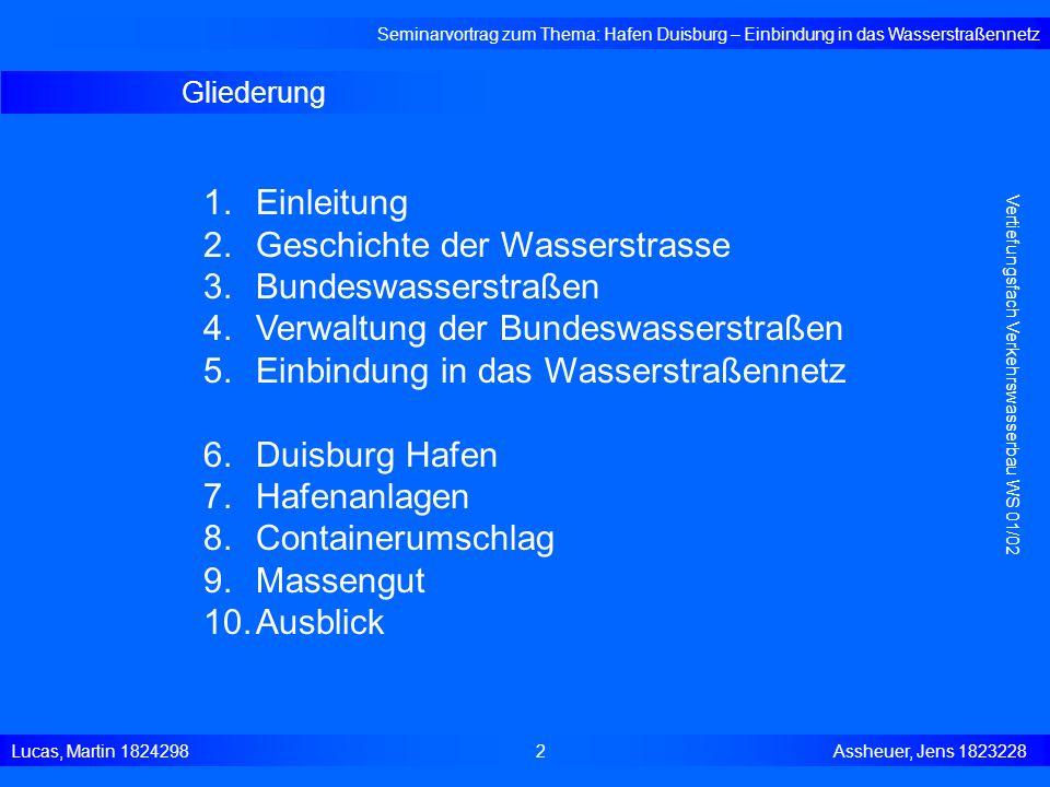 Geschichte der Wasserstrasse Bundeswasserstraßen