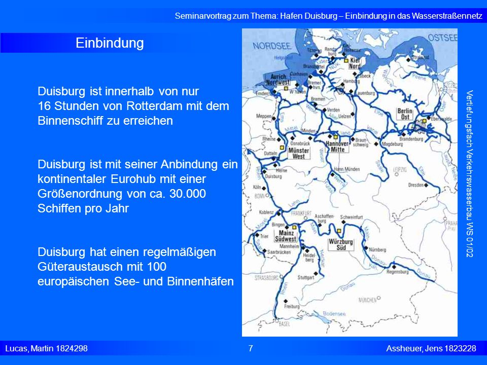 Seminarvortrag zum Thema: Hafen Duisburg – Einbindung in das Wasserstraßennetz