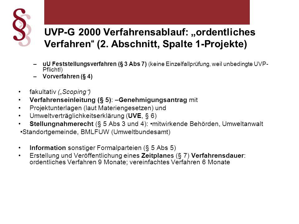 """UVP-G 2000 Verfahrensablauf: """"ordentliches Verfahren (2"""