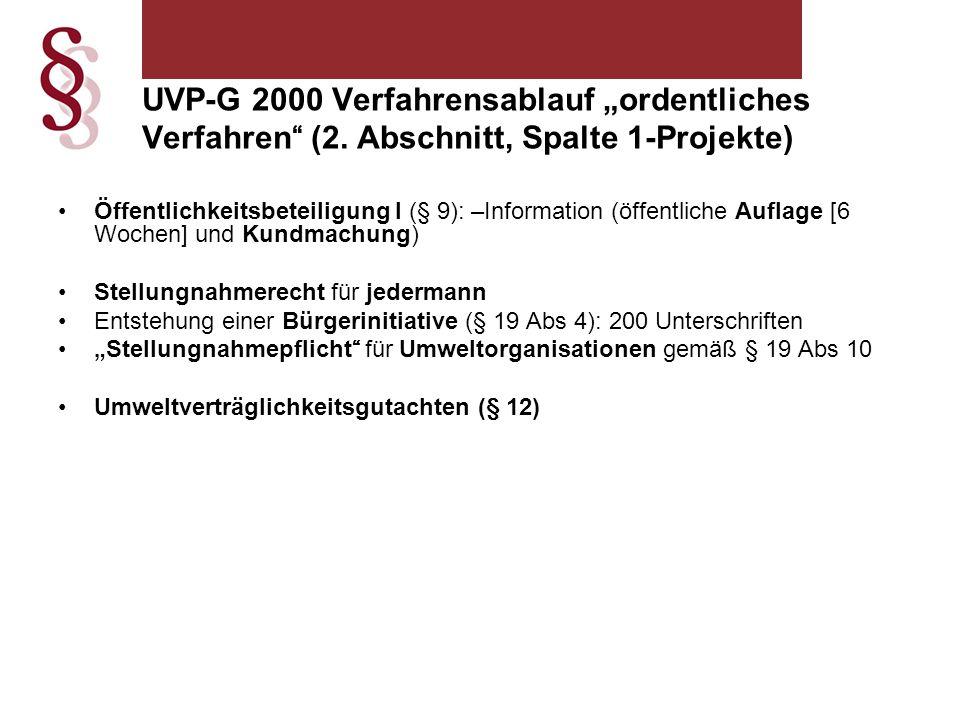 """UVP-G 2000 Verfahrensablauf """"ordentliches Verfahren (2"""