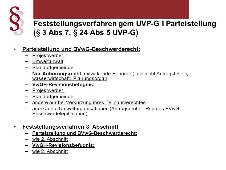 Feststellungsverfahren gem UVP-G I Parteistellung (§ 3 Abs 7, § 24 Abs 5 UVP-G)