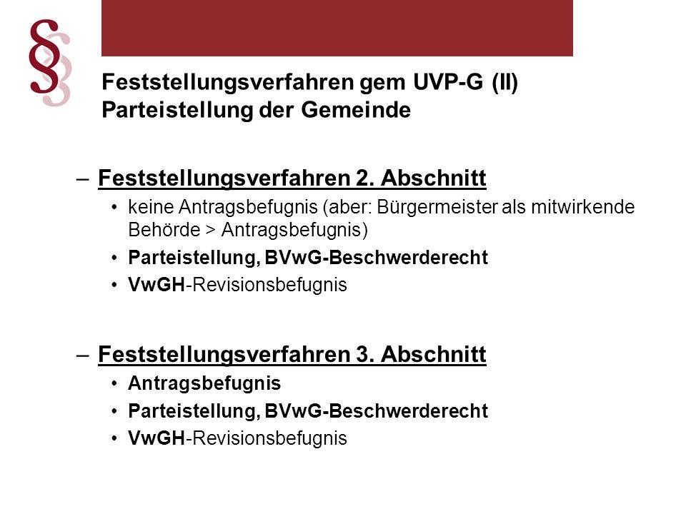 Feststellungsverfahren gem UVP-G (II) Parteistellung der Gemeinde