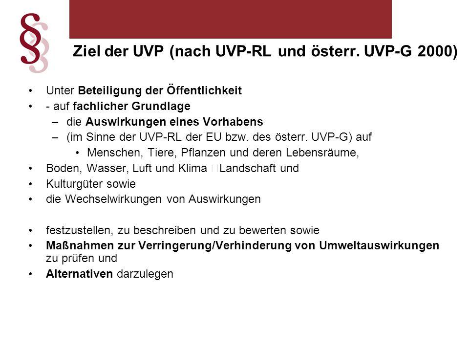 Ziel der UVP (nach UVP-RL und österr. UVP-G 2000)