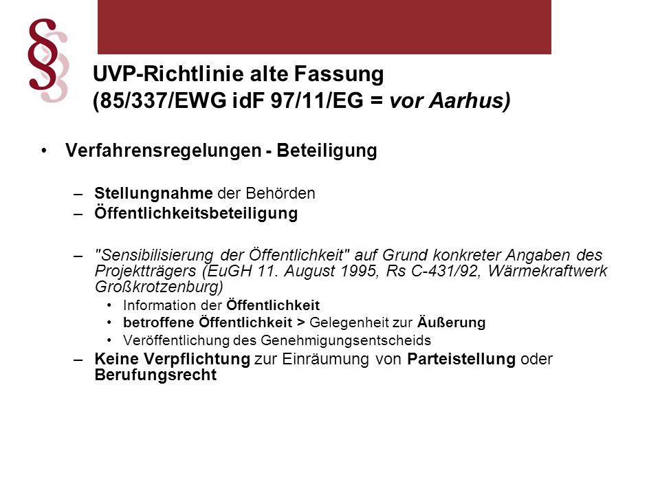UVP-Richtlinie alte Fassung (85/337/EWG idF 97/11/EG = vor Aarhus)