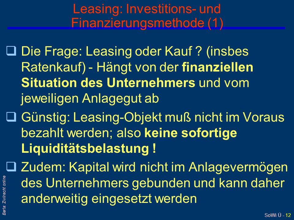 Leasing: Investitions- und Finanzierungsmethode (1)