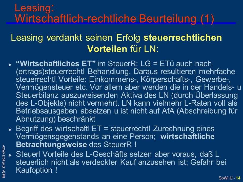 Leasing: Wirtschaftlich-rechtliche Beurteilung (1)