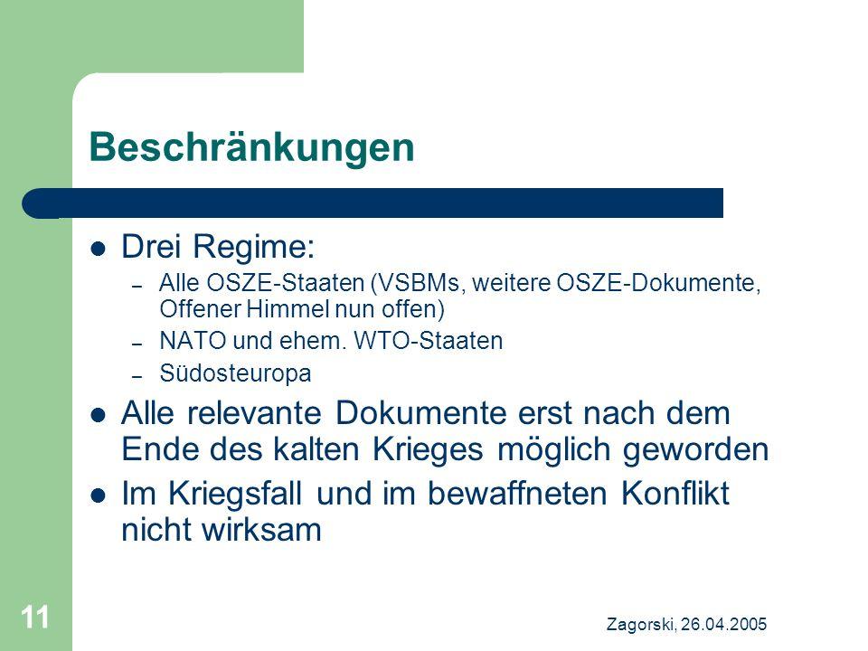 Beschränkungen Drei Regime: