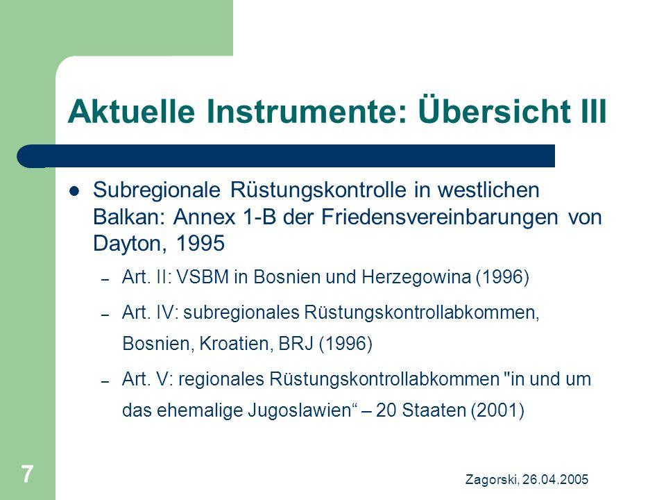 Aktuelle Instrumente: Übersicht III