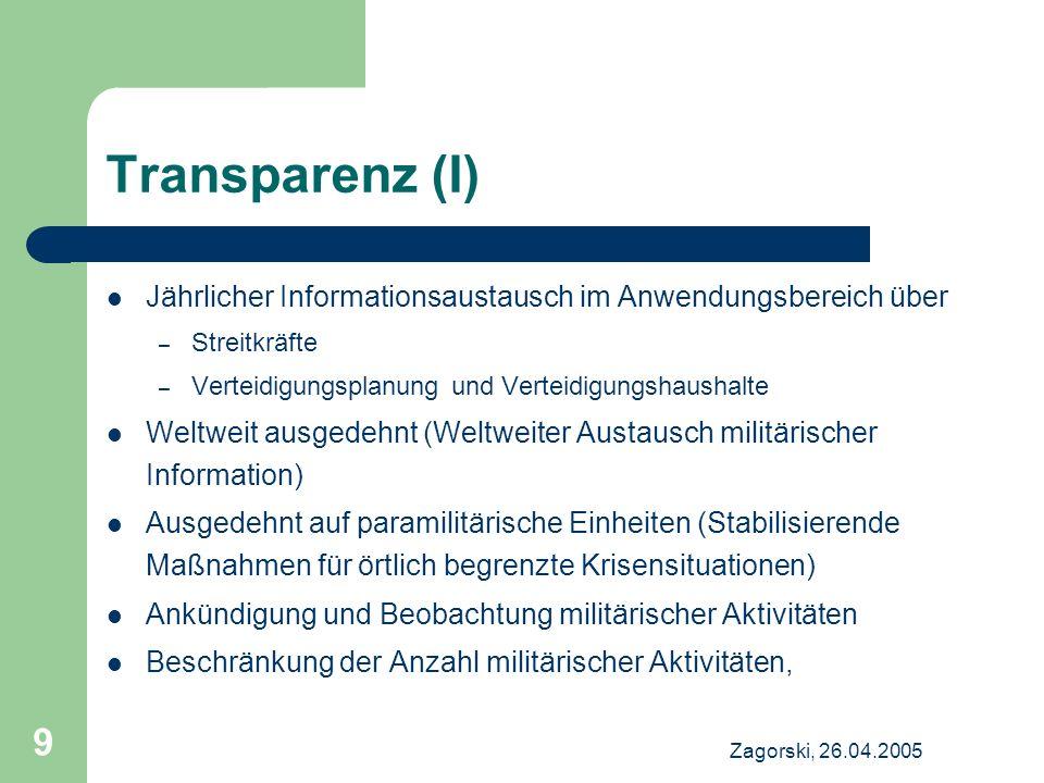 Transparenz (I) Jährlicher Informationsaustausch im Anwendungsbereich über. Streitkräfte. Verteidigungsplanung und Verteidigungshaushalte.
