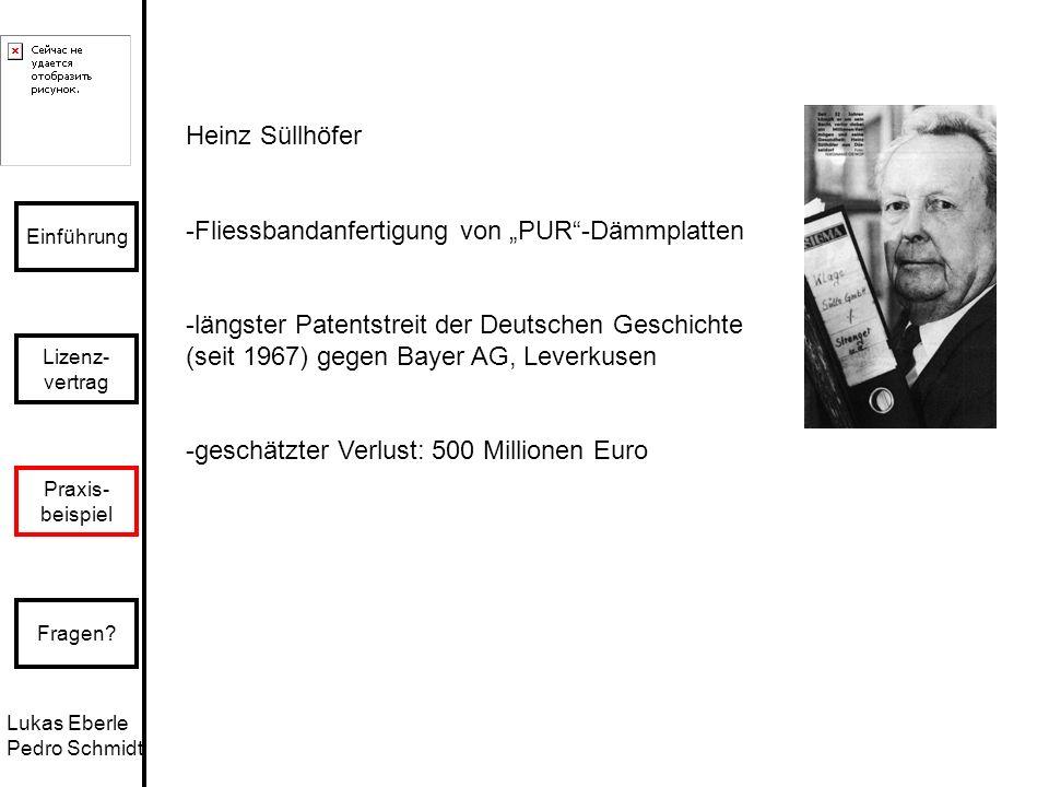 """Heinz Süllhöfer -Fliessbandanfertigung von """"PUR -Dämmplatten. -längster Patentstreit der Deutschen Geschichte (seit 1967) gegen Bayer AG, Leverkusen."""