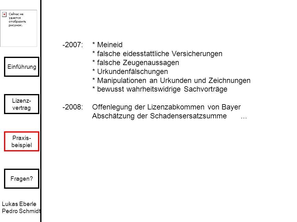 2007: * Meineid * falsche eidesstattliche Versicherungen. * falsche Zeugenaussagen. * Urkundenfälschungen.