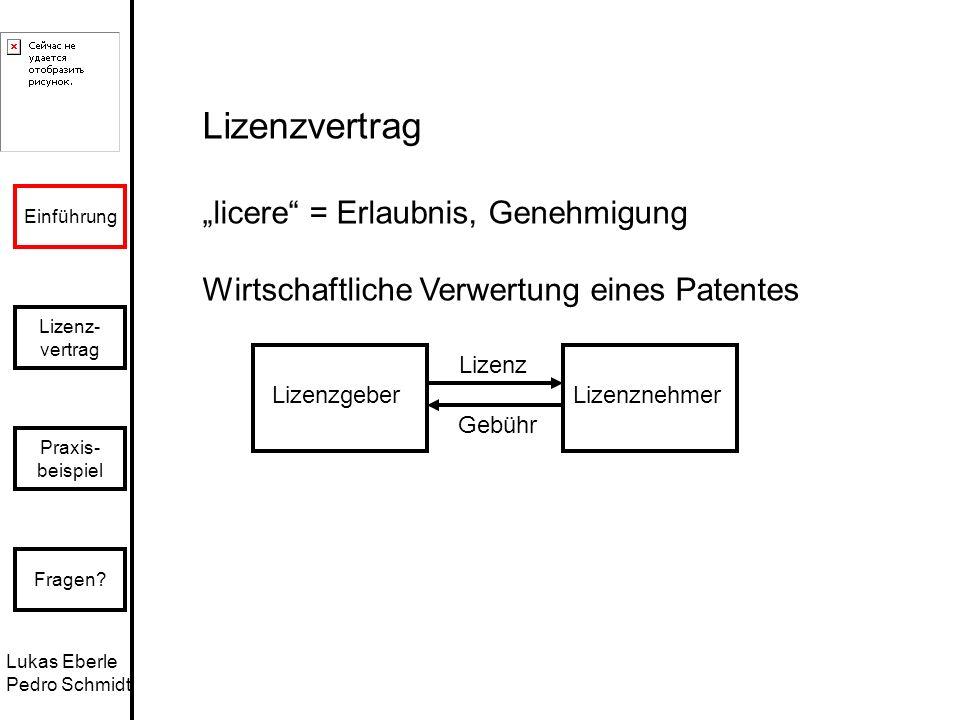 """Lizenzvertrag """"licere = Erlaubnis, Genehmigung"""