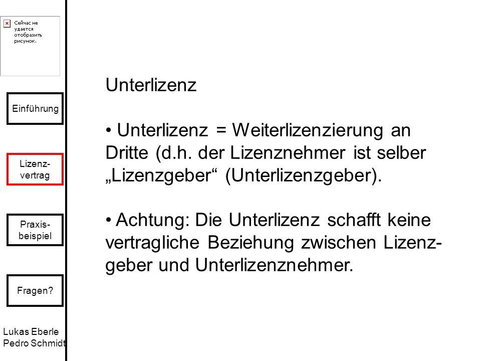 """Unterlizenz • Unterlizenz = Weiterlizenzierung an Dritte (d.h. der Lizenznehmer ist selber. """"Lizenzgeber (Unterlizenzgeber)."""