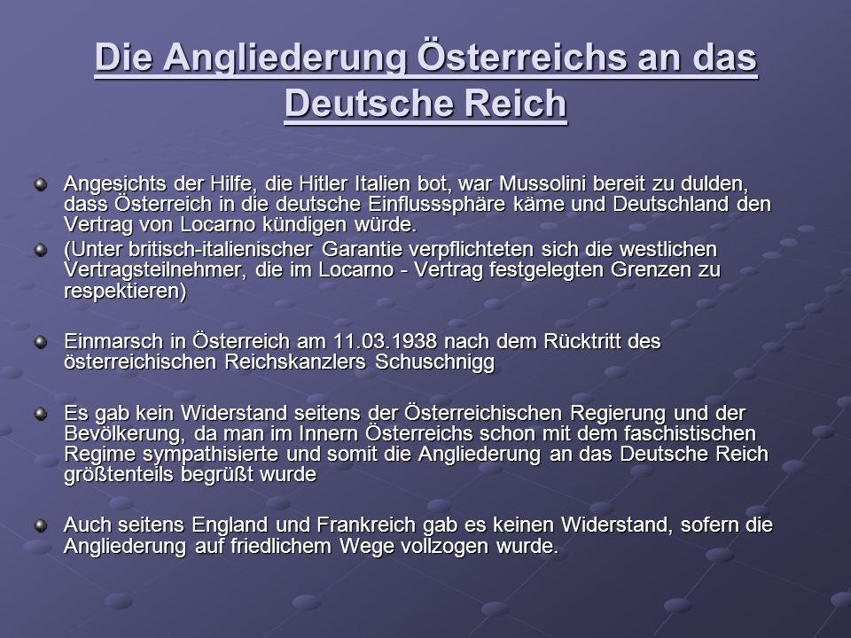 Die Angliederung Österreichs an das Deutsche Reich