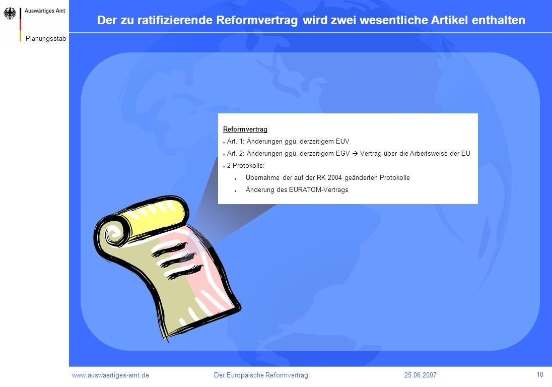 Der zu ratifizierende Reformvertrag wird zwei wesentliche Artikel enthalten