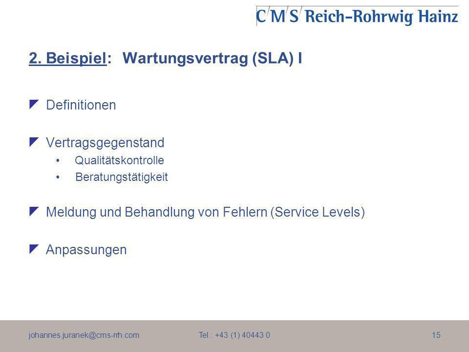 2. Beispiel: Wartungsvertrag (SLA) I