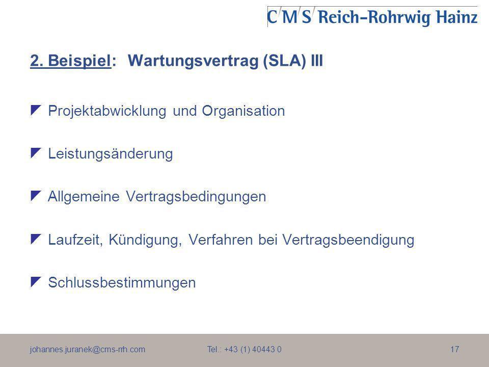 2. Beispiel: Wartungsvertrag (SLA) III