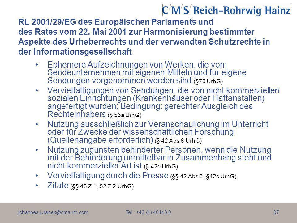RL 2001/29/EG des Europäischen Parlaments und des Rates vom 22