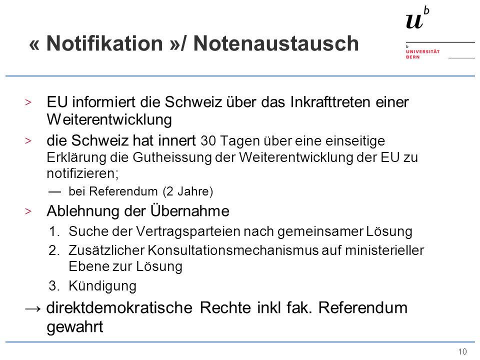 « Notifikation »/ Notenaustausch