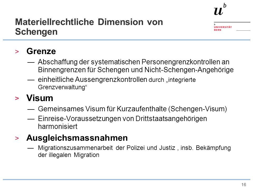 Materiellrechtliche Dimension von Schengen