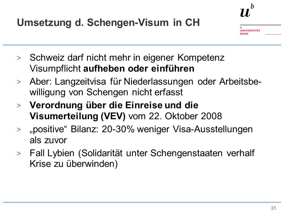 Umsetzung d. Schengen-Visum in CH