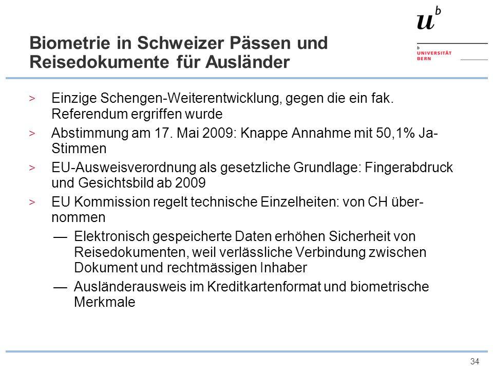 Biometrie in Schweizer Pässen und Reisedokumente für Ausländer