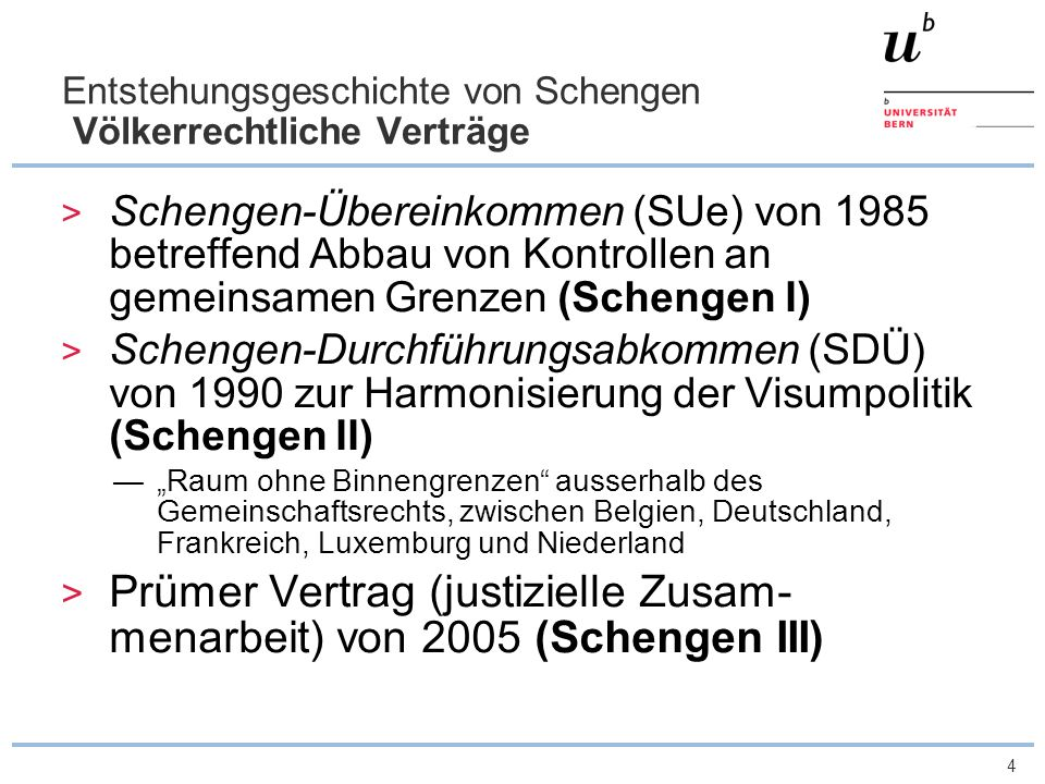 Entstehungsgeschichte von Schengen Völkerrechtliche Verträge