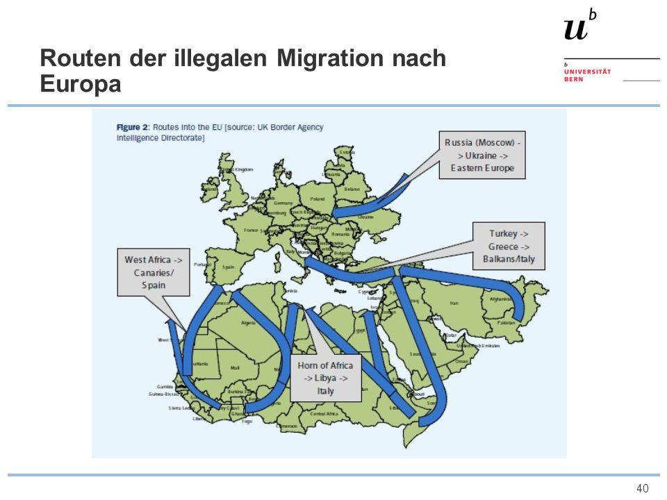 Routen der illegalen Migration nach Europa