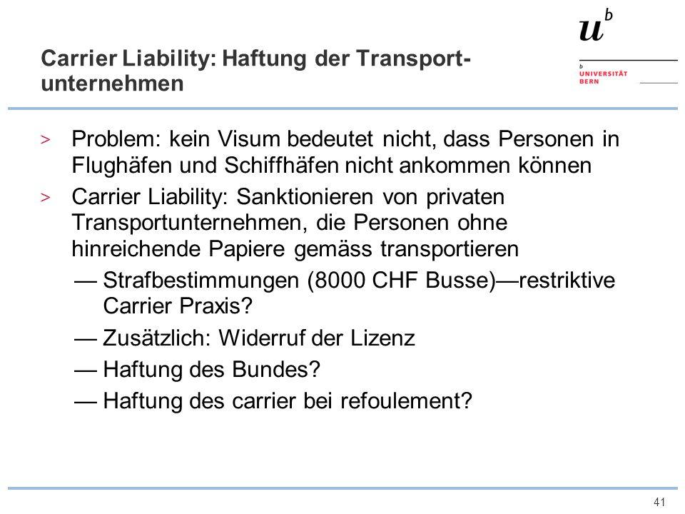 Carrier Liability: Haftung der Transport-unternehmen
