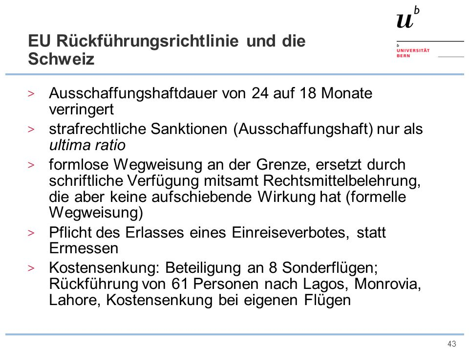 EU Rückführungsrichtlinie und die Schweiz