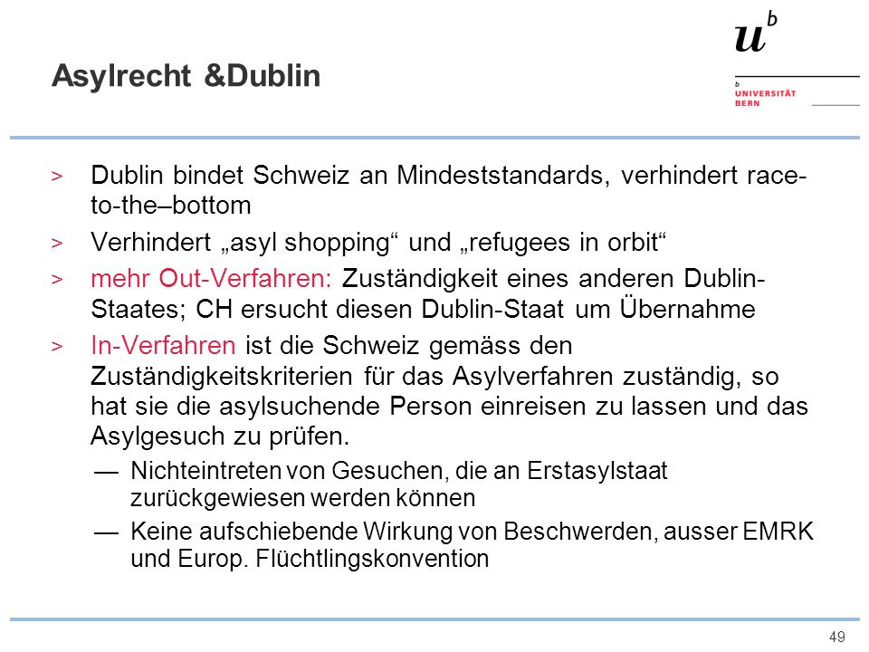 "Asylrecht &Dublin Dublin bindet Schweiz an Mindeststandards, verhindert race-to-the–bottom. Verhindert ""asyl shopping und ""refugees in orbit"