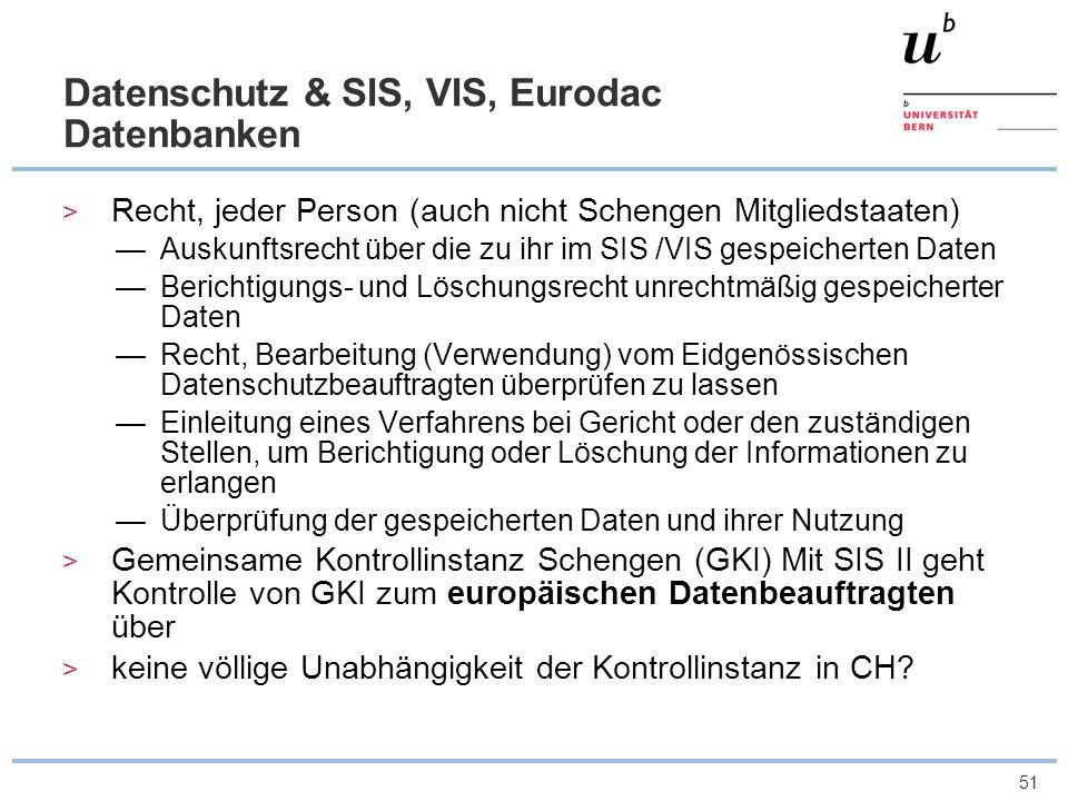 Datenschutz & SIS, VIS, Eurodac Datenbanken