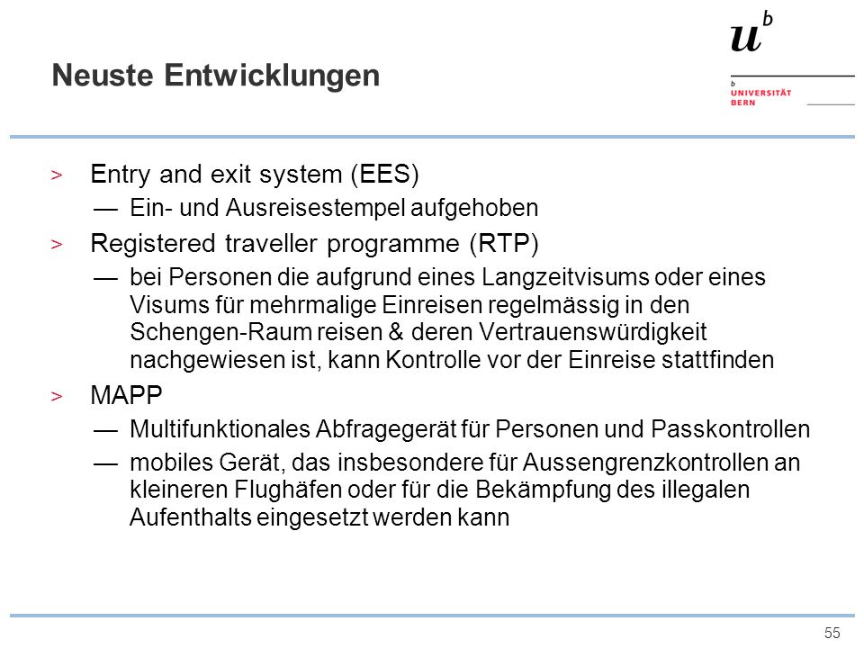 Neuste Entwicklungen Entry and exit system (EES)