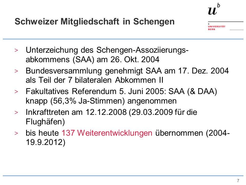 Schweizer Mitgliedschaft in Schengen