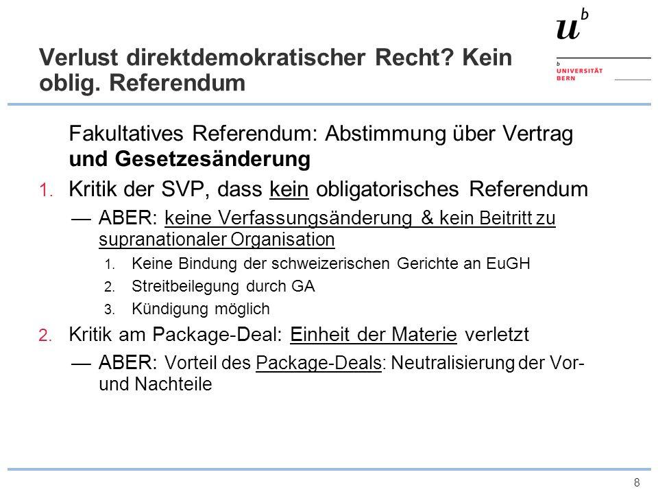 Verlust direktdemokratischer Recht Kein oblig. Referendum