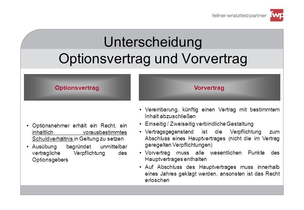 Unterscheidung Optionsvertrag und Vorvertrag