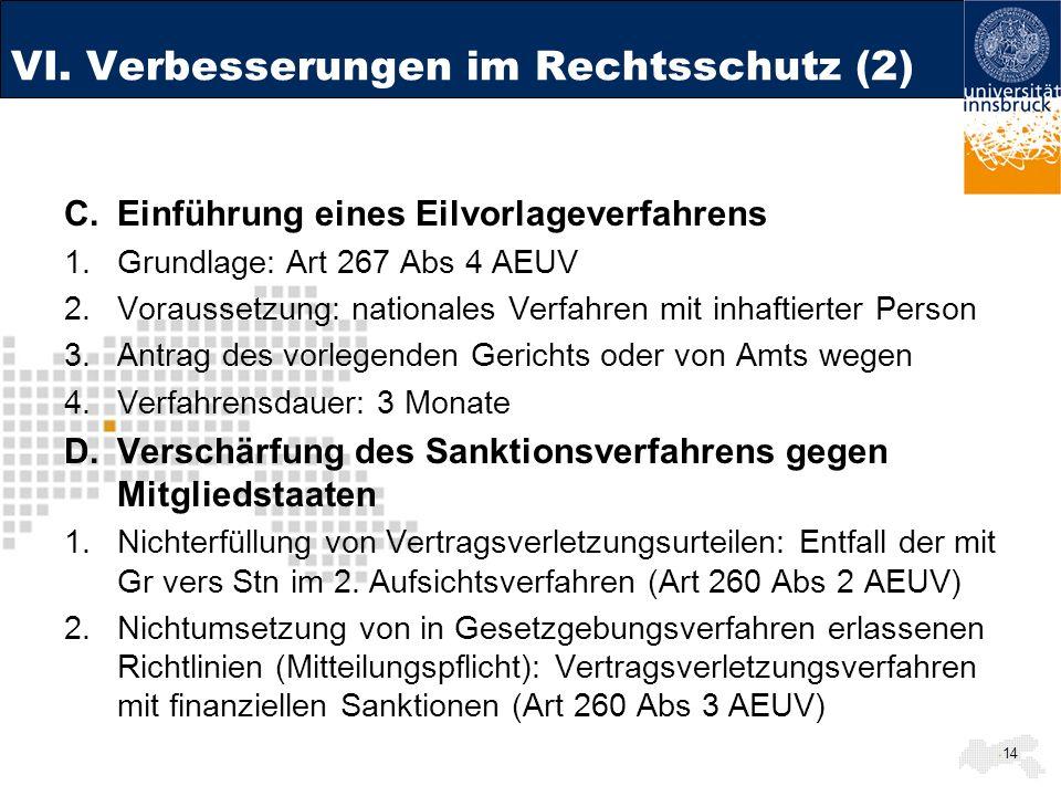VI. Verbesserungen im Rechtsschutz (2)