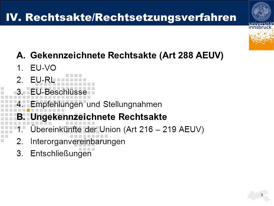 IV. Rechtsakte/Rechtsetzungsverfahren