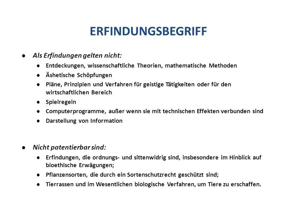 ERFINDUNGSBEGRIFF Als Erfindungen gelten nicht: