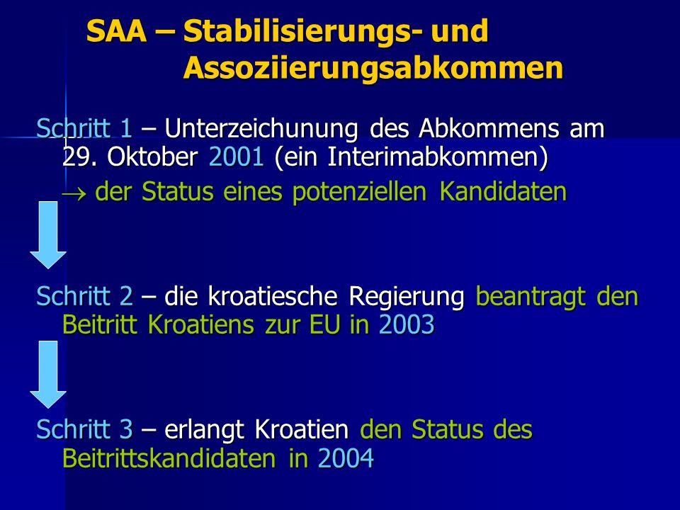 SAA – Stabilisierungs- und Assoziierungsabkommen