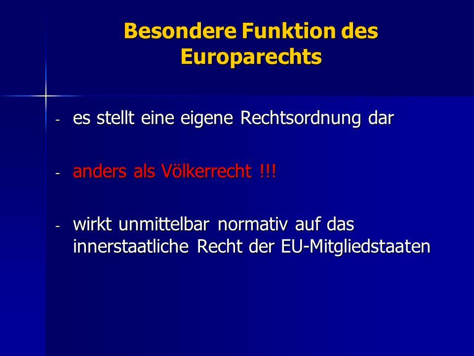 Besondere Funktion des Europarechts