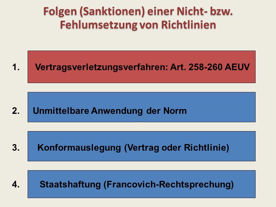 Folgen (Sanktionen) einer Nicht- bzw. Fehlumsetzung von Richtlinien